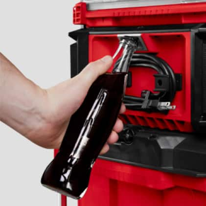 Easy access to the built in bottle opener, even when stacked within the PACKOUT Stack