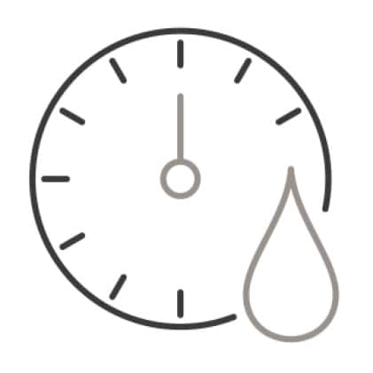 An icon of a timer's face. An water droplet is superimposed over the lower right corner of the timer.