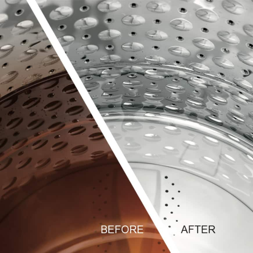Side by side comparison of dirty water from the beginning of a Power Prewash cycle to clean after the GE washer finishes the cycle