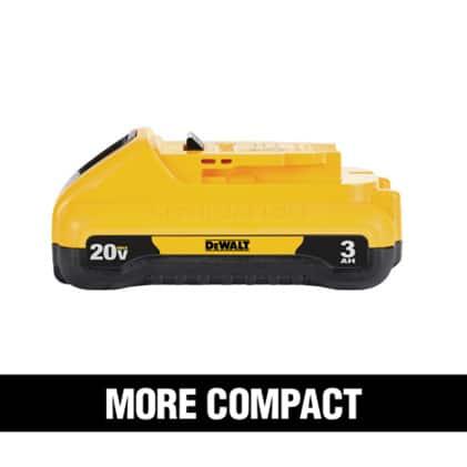 20 VOLT 1.3Ah, 1.5Ah, 2.0Ah and 3.0Ah feature a compact and lightweight design.