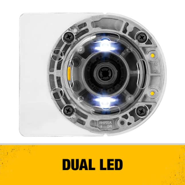 Dual LED Lights help Illuminate the work surface and provide superior bit visibility.