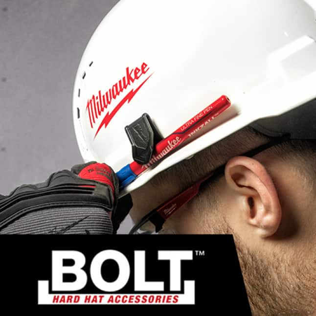 Milwaukee construction hard hat with 6 accessory slots