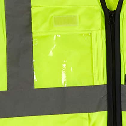 High visibility vest with clear ID holder