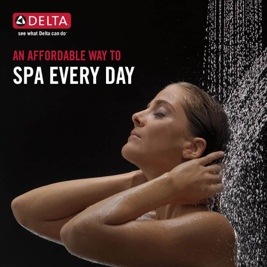 """Image is of a female model showering (shoulders-up) with black background and copy """"Spa every day"""""""
