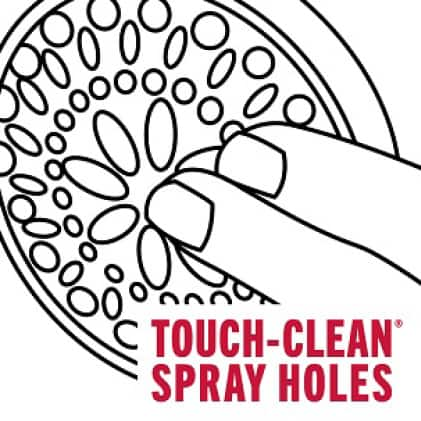 """Image is a black and white line drawing of showerhead with fingers touching the spray holes and copy """"Touch-Clean spray holes"""""""