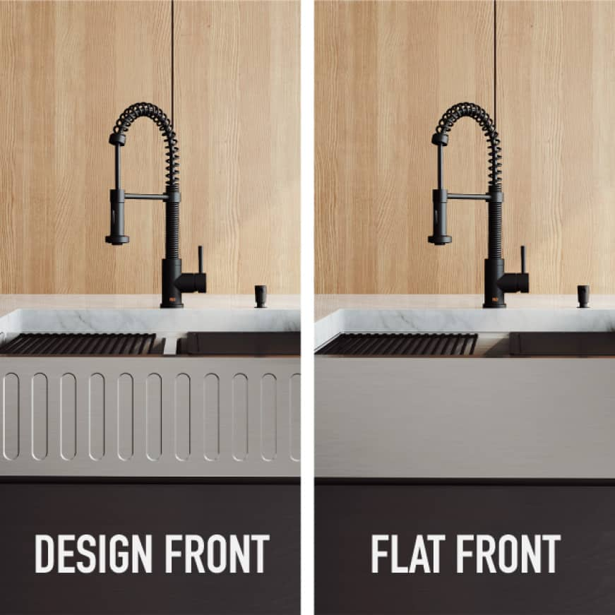 Select from slotted-front or flat-front options