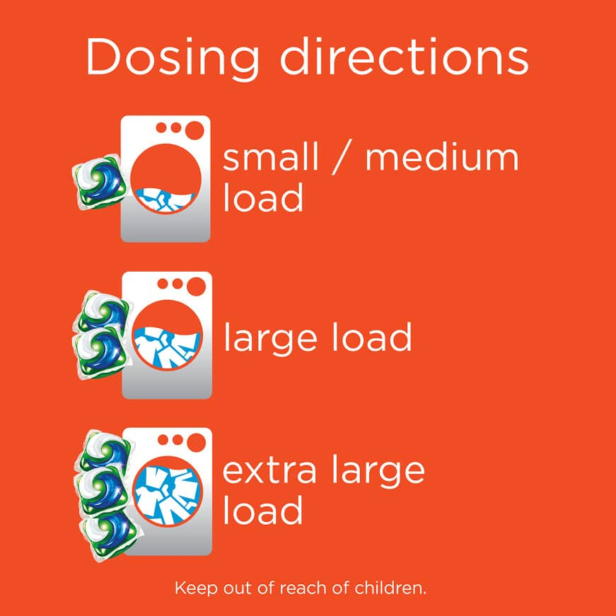 Use one two or three Tide Pods depending on the size of your load