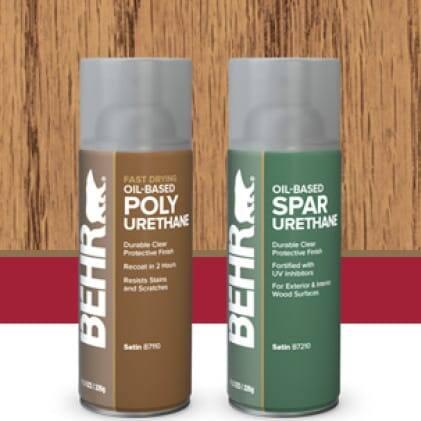 Behr's Clear Finish aerosol cans