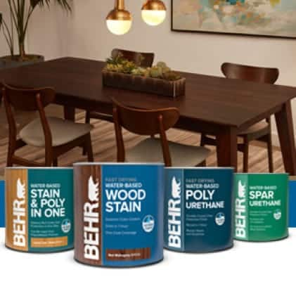 Behr's interior stain program can shot images with a brown stained kitchen table in background. Espresso B3518