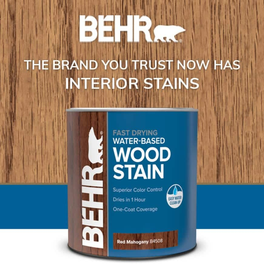 BEHR water-based wood stain can