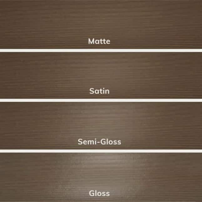 Examples of Behr's four different sheen levels on wood substrates (matte, satin, semi-gloss, and gloss).