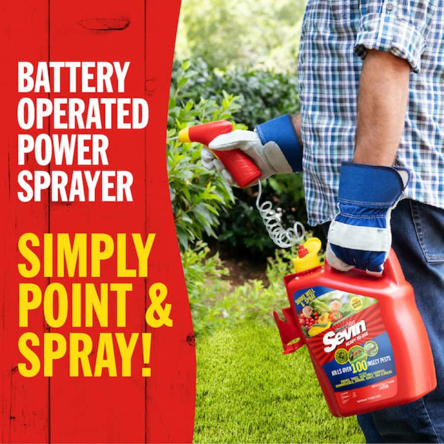 Sevin Ready-To-Use Insect Killer Power Sprayer is battery operated