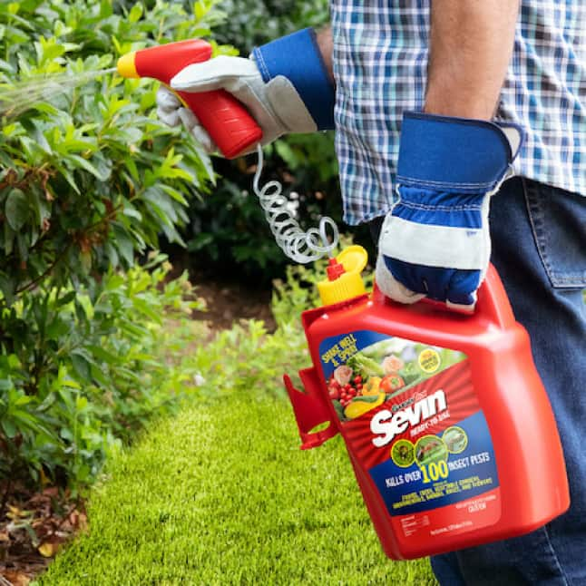 Sevin Ready-To-Use Insect Killer Power Sprayer apply to target area