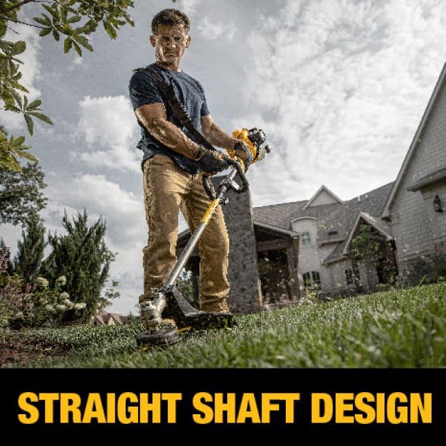 Man Trimming Yard with Dewalt Straight Shaft String Trimmer