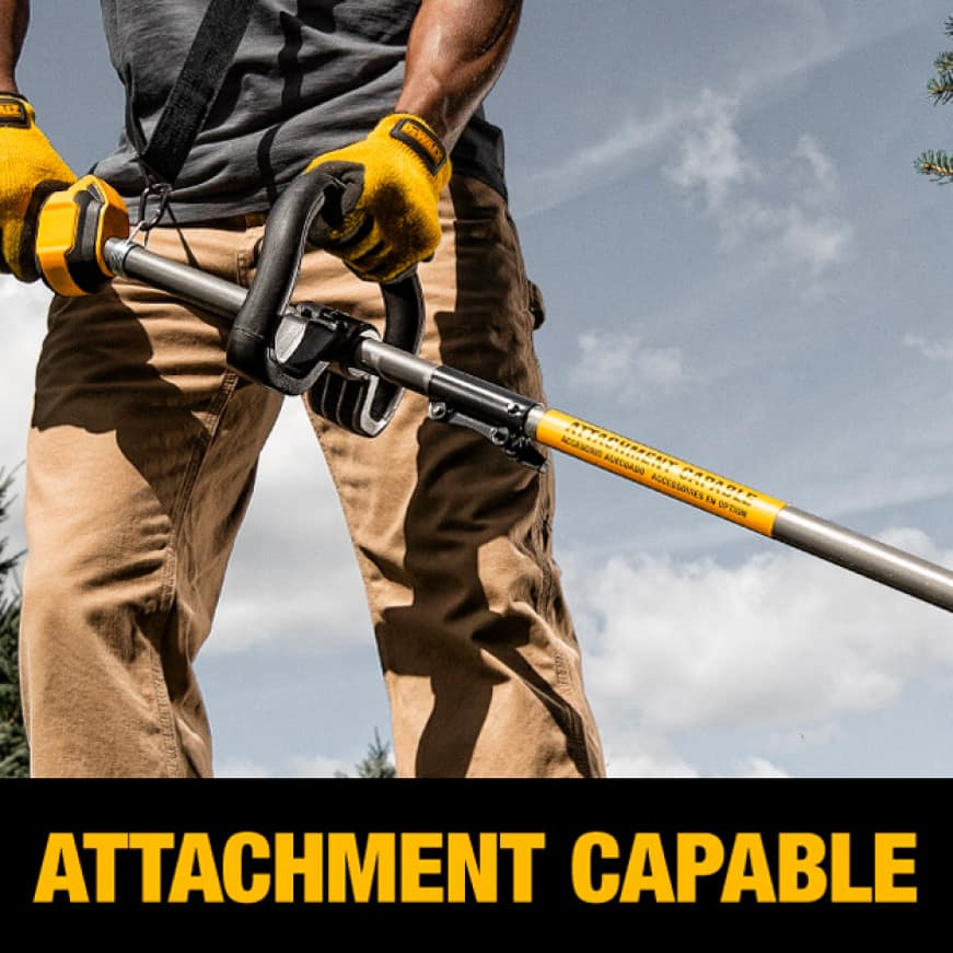 Man Trimming Yard with Dewalt Attachment Capable String Trimmer