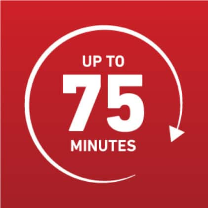 Up to 75 minutes icon