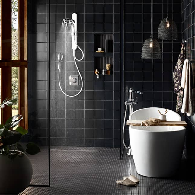 Organic forms and soft curves nod to Scandinavian design and warm up modern styling in this rainshower, handshower, adjustable slider and magnetic doc