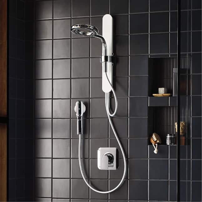 "This is the next generation of shower technology, offering twice the coverage using almost half of the water when compared to a standard 8"" Moen Showe"