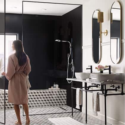 Add a modern statement in your bathroom with the Nebia by Moen spa shower, with it's curved, flowing form, elevated design and distinctive finishes