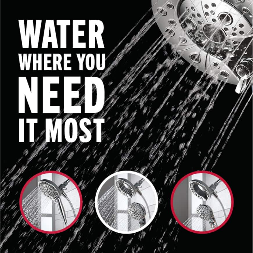 Image is of the showerhead with water on and 3 circles with in-context images showing usage (docked, undocked, undocked with only the hand shower on)
