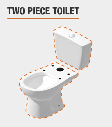 Toilet is two pieces