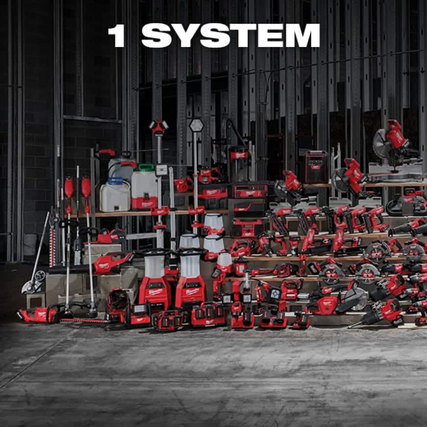 A wide selection of M18 cordless tools and solutions lined up