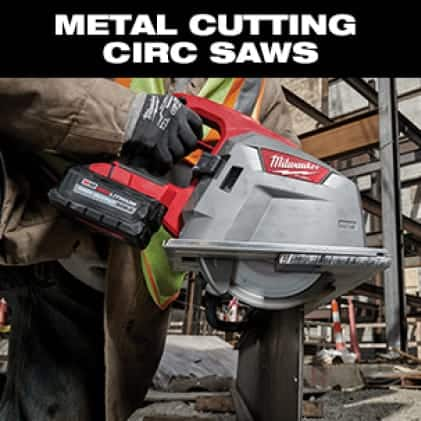 Man wearing hi-vis vest and work gloves uses an M18 FUEl Circ Saw to cut metal corrugated decking.