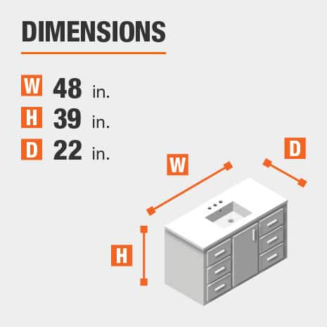 The dimensions of this bathroom vanity are 48 in. W x 39 in. H x 22 in. D