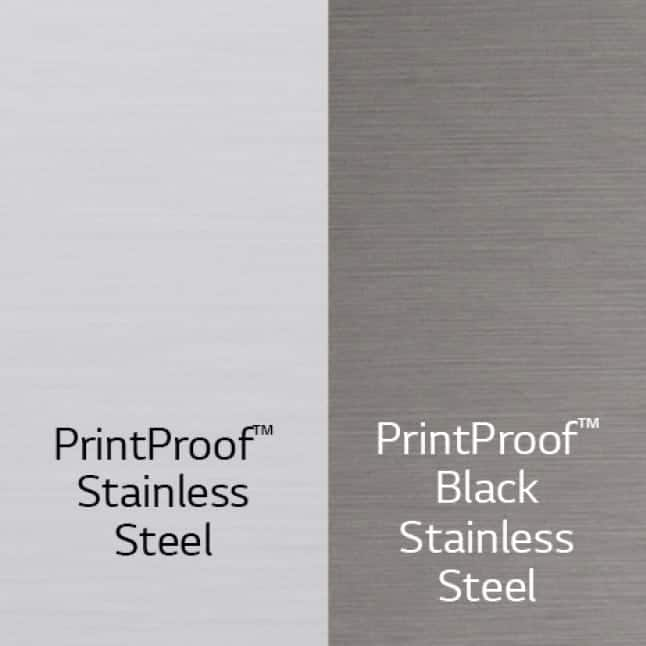 The LRMV Refrigerator is available in PrintProof Stainless Steel and PrintProof Black Stainless Steel.