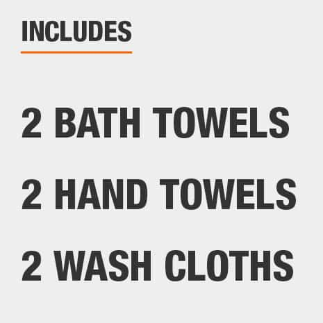 Set includes two bath towels, two hand towels, and two wash cloths