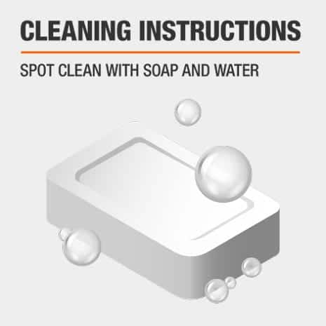Spot clean area rug with soap and water.