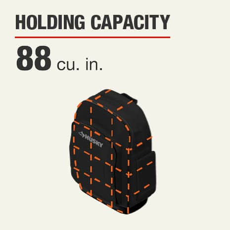 16 in Husky Pro Backpack Tool Bag has a holding capacity of 88 cubic inches