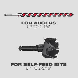 """Up to 1-1/4"""" auger bits and up to 2 9/16"""" self-feed bits"""