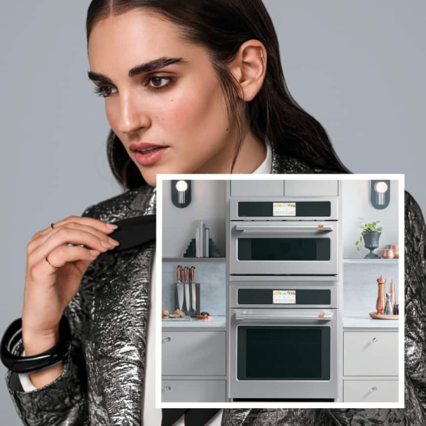 Beauty shot of woman with image of advantium and single wall oven in set