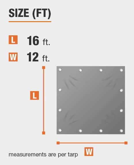 12 x 16 tarp that covers 192 sq ft