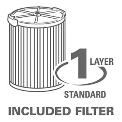 1-layer filtration captures general debris. Replacement Filters: Fine Dust (VF5000), HEPA Media (VF6000), Wet (VF7000)