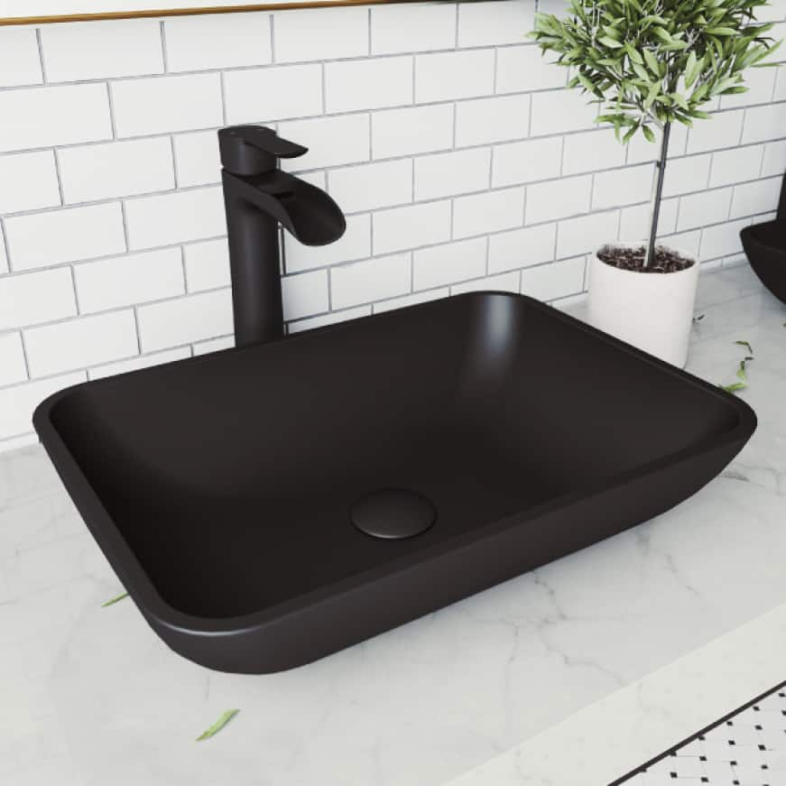 Above-counter vessel sink installation