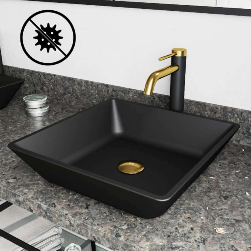 Bathroom sink's surface composition is naturally hygienic and resistant against bacteria