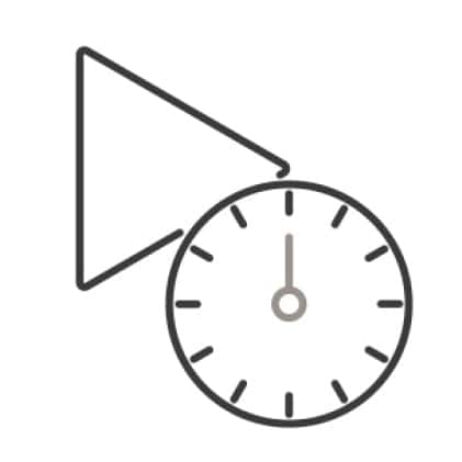 An icon of a play symbol. A timer overlaps the symbol slightly.