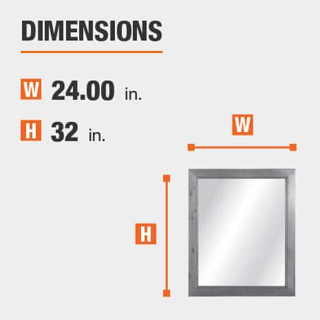 The dimensions of this bathroom vanity mirror are 24.00 in. W x 32.00 in. H