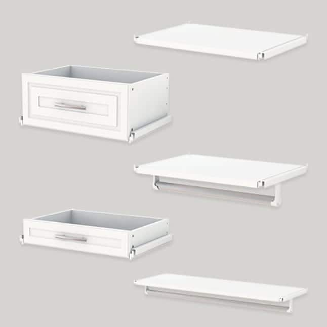 Image of closet accessories (drawers and shelves) available