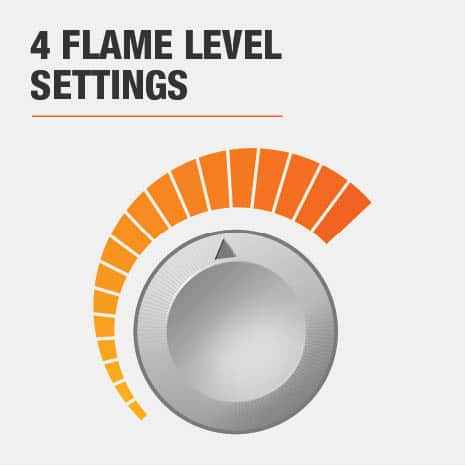 This electric fireplace has 4 flame level settings