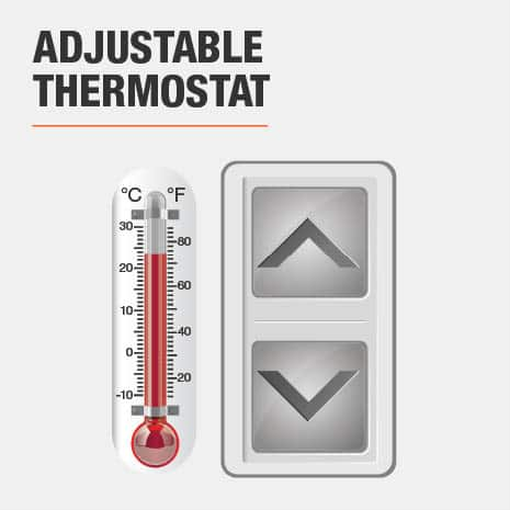 This electric fireplace includes an Adjustable Thermostat