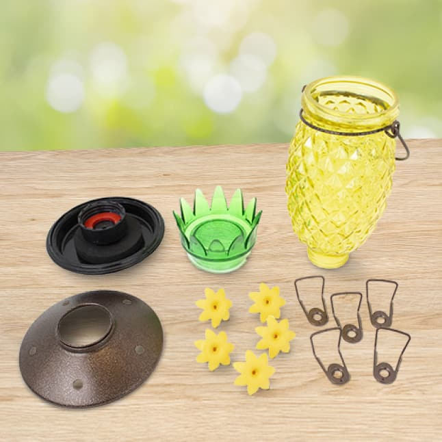 easy to clean, decorative glass top fill hummingbird feeders