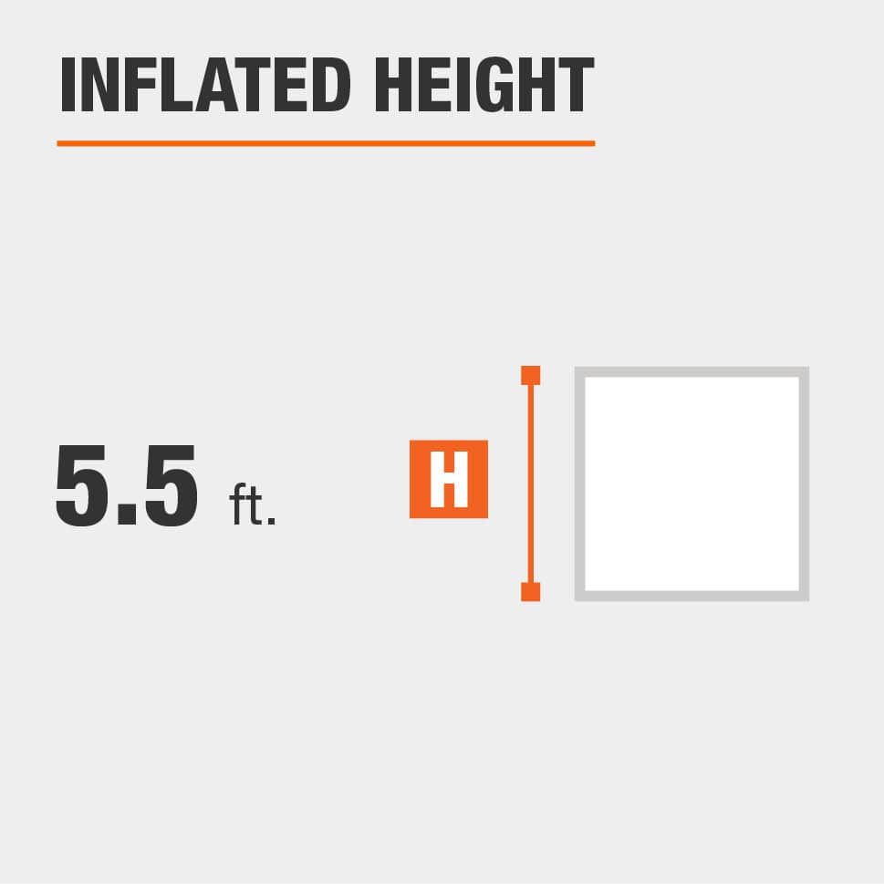 Inflated height is 5.5 feet