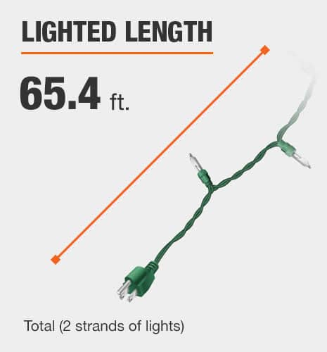 The lighted length is 64 feet