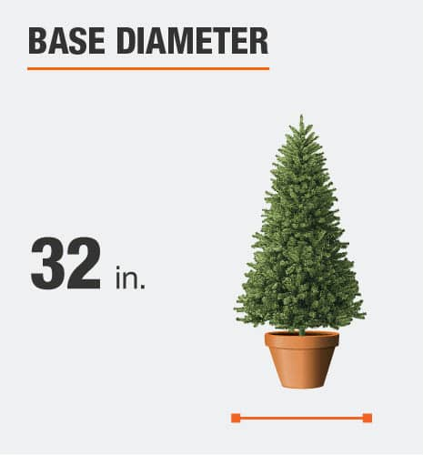 The base diameter is 32 inches
