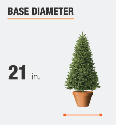 The base diameter is 21 inches