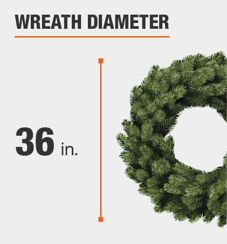 Wreath size is 36 inches