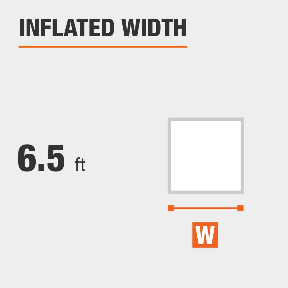 Inflated width is 6.5 feet